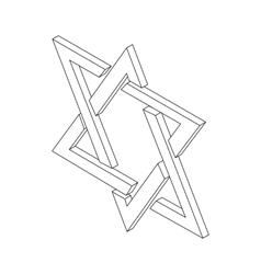 Star of David icon isometric 3d vector image