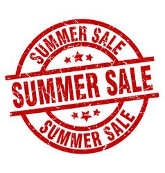 Summer sale round red grunge stamp vector