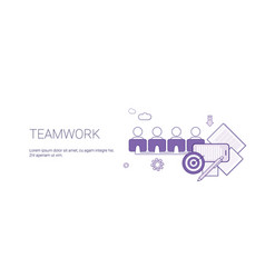 teamwork web banner with copy space business team vector image