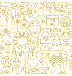 Thin Line Gold Merry Christmas Seamless Pattern vector