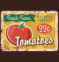 Tomato metal plate rusty vegetables poster retro vector
