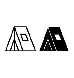 Tourist tent line and glyph icon camp tent vector