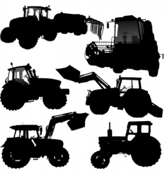 Tractor silhouettes vector