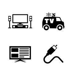 Tv broadcast simple related icons vector