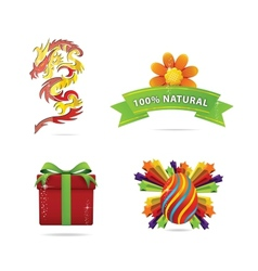 Web and nature elegance symbols set vector image