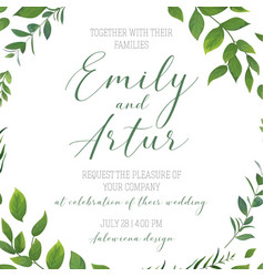 Wedding floral greenery invitation card art design vector