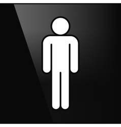White sign man stands in flat style vector image