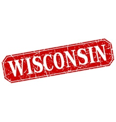 Wisconsin red square grunge retro style sign vector
