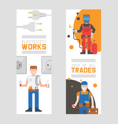 workmen builders and engineers with tools or vector image