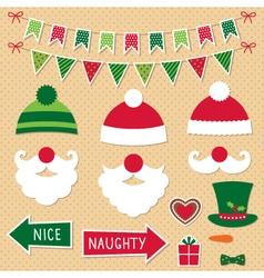 Christmas Santa Claus and decoration set vector image vector image