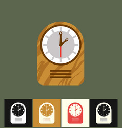 Clock icon flat wood analog vector