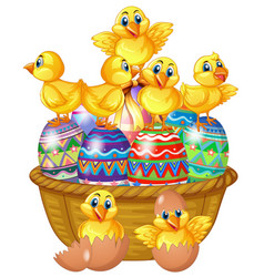 cute chicks standing on decorated egg vector image