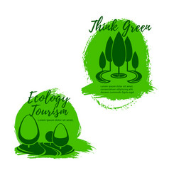 Ecology and ecotourism icon set with green trees vector