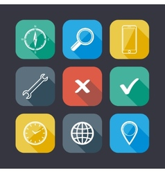 set of application web icons flat design with long vector image