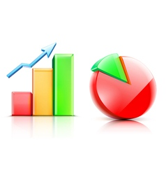 shiny bar and pie chart vector image
