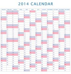 Table schedule calendar 2014 vector image vector image