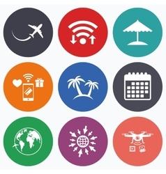 Travel trip icon airplane world globe symbols vector