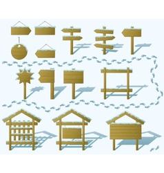 wood signs winter set gradient vector image