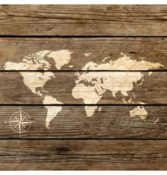 world map on a wooden board vector image vector image