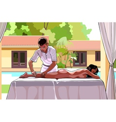 cartoon man makes a woman a massage vector image vector image