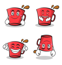 collection set red glass character cartoon vector image vector image