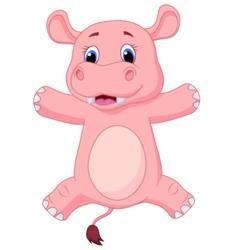 Happy baby hippo cartoon vector image vector image