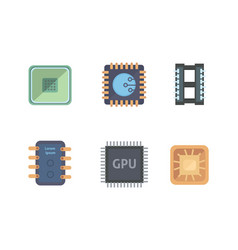 microprocessor and electronic chips icons set vector image vector image