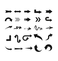 set of black arrow icons in vector image