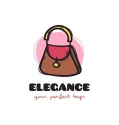 cute woman bag sketchy logo Bags shop vector image vector image