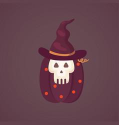 halloween pumpkin with cute face on dark vector image vector image