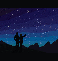 make a wish silhouette of couple watching vector image vector image