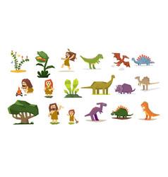 prehistoric stone age elements set primitive vector image vector image