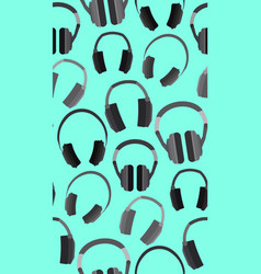 seamless texture with flat headphones on a blue vector image vector image