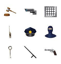 court decision icons set cartoon style vector image vector image