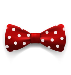 red polka dot bow tie isolated on white vector image vector image
