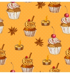 Seamless background with cupcake and cinnamon vector