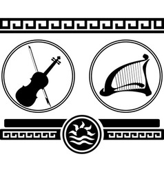 silhouettes of violin and ancient harp vector image vector image