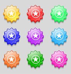 Star Favorite icon sign symbol on nine wavy vector image vector image