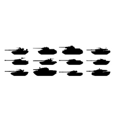 tanks silhouettes set vector image vector image