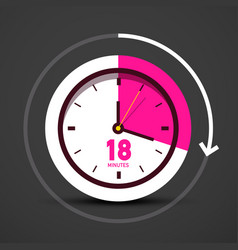 18 eighteen minutes icon with clock watch symbol vector image