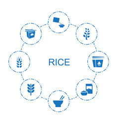 8 rice icons vector