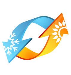 Air conditioner arrows sun and snowflake vector