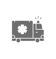 Ambulance car emergency medical truck grey icon vector