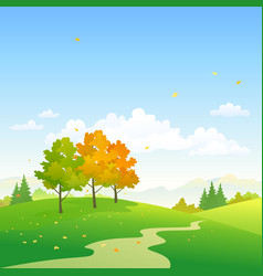 Autumn day scenery vector