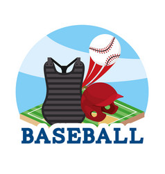 Baseball sport game with professional equipment vector