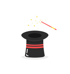 black inverted magic hat icon on white background vector image