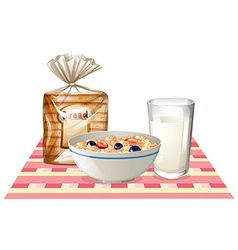 Breakfast set with bread and cereal vector