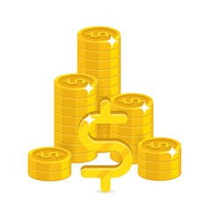 Bunch gold dollars isolated cartoon vector