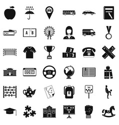 Bus stop icons set simple style vector