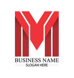 business red m letter logo template vector image